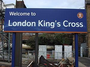 King's Cross railway station signage, London, UK