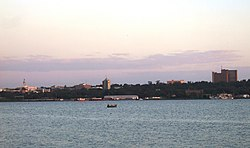 The skyline of Kisumu City from Lake Victoria