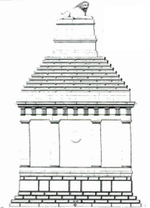 Lion of Knidos - Pullan's sketch of his conjectural reconstruction of the funerary monument as first built. It is estimated to be 18 metres high and faced in marble. The lion weighs 6 tons.