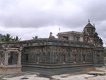 Temple complex under an overcast sky