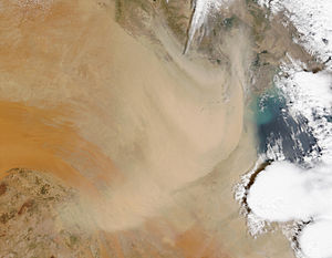 Geography of Kuwait - Dust storm over Kuwait and Southern Iraq, April 16, 2003