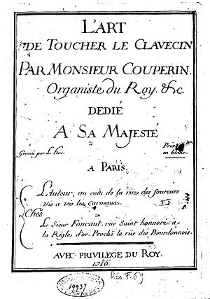 L'art de toucher le clavecin - Title page of the first edition.