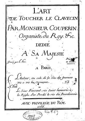 L'art de toucher le clavecin - Title page of the first edition.