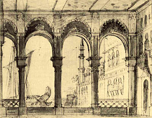 Teatro San Benedetto - Set design by Francesco Bagnara for the production of L'italiana in Algeri at the Teatro San Benedetto in 1826
