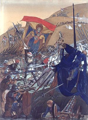 Battle of Nancy - Image: Léo Schnug, La bannière de Strasbourg à la bataille de Nancy (1477)