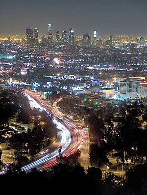 Los Angeles skyline at night as seen from Mulh...