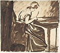 Lady Seated at a Table (recto); Dancing Figures (verso) MET DP804915.jpg