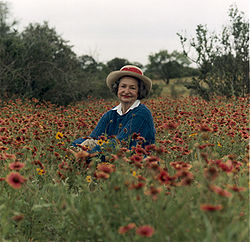A portrait of Lady Bird Johnson in the Texas Hill Country