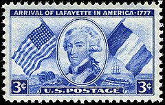 175th anniversary of Lafayette's arrival in America in 1777, 1952 issue