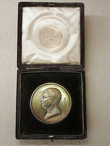 A gold Telford medal in its presentation case, the medal depicts Thomas Telford in profile