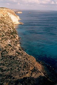La costa meridionale dell'isola
