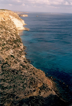 The south coast of Lampedusa
