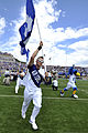 Led by junior Joseph Flescher, the U.S. Air Force Academy Falcons charge the field prior to the Air Force Falcons football game against the Idaho State Bengals at Falcon Stadium in Colorado Springs, Colo., Sept 120901-F-JM997-603.jpg