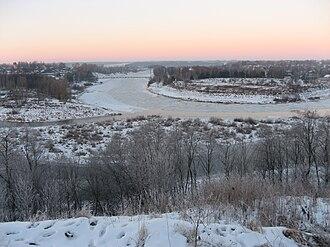 Zubtsov - Image: Ledostav on Volga river in Zubtsov tver oblast