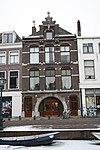 foto van Voormalige bierhandel met bovenwoning en pakhuis in de bouwstijl van de Neo- Hollandse Renaissance Oude Leidse Bierbrouwerij nu als monumentenwoning