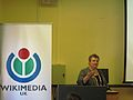 Leigh Thelmadatter speaks at EduWiki.JPG