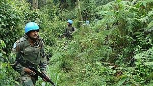 Indian Army United Nations peacekeeping missions - Image: Les Soldats de la Paix du bataillon indien lors d'une patrouille de domination de terrain à travers la forêt de Pitakongo (15143910694)
