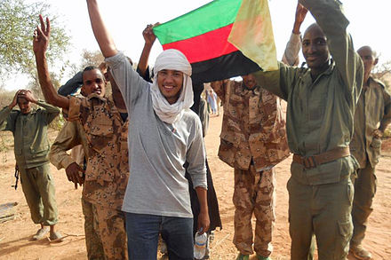 Tuareg rebels in the short-lived proto-state of Azawad in 2012 Les rebelles touaregs joignent leurs forces dans le nord du Mali (8248043080).jpg