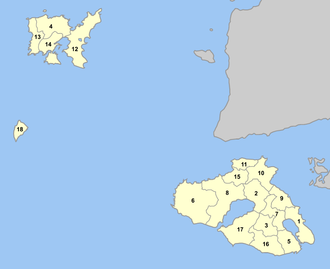 Lesbos Prefecture - Image: Lesbos municipalities numbered