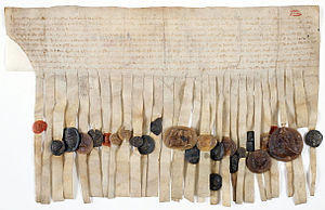 Mise of Amiens - Letter by which Henry III, King of England, took the King of France, Louis IX, to arbitrate his dispute with his barons, written at Windsor on October 16, 1263 (Document kept in Archives nationales (France), France