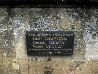 Levellers - Plaque commemorating three Levellers shot by Oliver Cromwell enBurford.