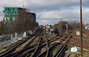 Photograph showing the approach to Lewisham station