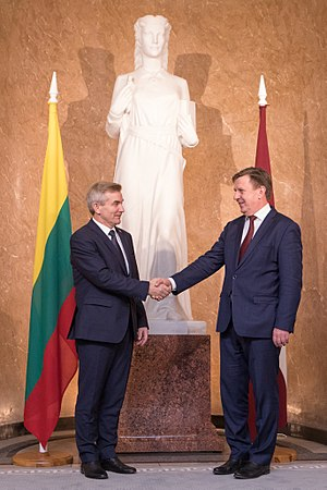 Foreign relations of Lithuania - Lithuanian Speaker Viktoras Pranckietis and Latvian Prime Minister Māri Kučinski in 2016.