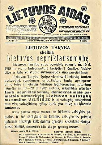 Act of Independence of Lithuania - The front page of Lietuvos aidas with the text of the Act. The bulk of the issue was confiscated by German authorities.