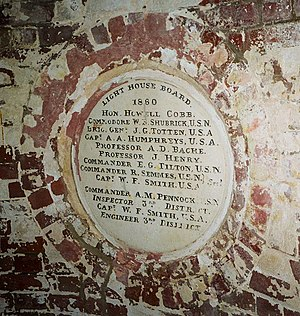 United States Lighthouse Board - Seal at Montauk Point Light listing the members of the U.S. Lighthouse Board in 1860.