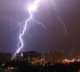 Heat transfer - Lightning is a highly visible form of energy transfer and is an example of plasma present at Earth's surface. Typically, lightning discharges 30,000 amperes at up to 100 million volts, and emits light, radio waves, X-rays and even gamma rays. Plasma temperatures in lightning can approach 28,000 kelvins (27,726.85 °C) (49,940.33 °F) and electron densities may exceed 1024 m−3.