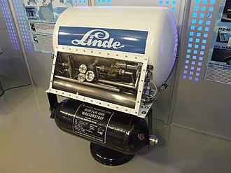 Liquid hydrogen - Tank for liquid hydrogen of Linde, Museum Autovision, Altlußheim, Germany