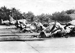 Ling-Temco-Vought A-7D Corsair II aircraft of the Puerto Rico Air National Guard destroyed at Muñiz Air National Guard Base.jpg