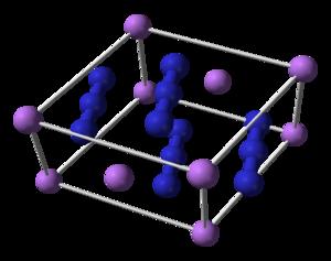 Lithium azide - Image: Lithium azide unit cell 3D balls