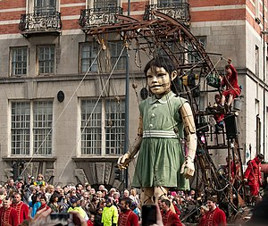 Sea Odyssey: Giant Spectacular - Little Girl Giant on 21 April in front of Albion House – the former headquarters of White Star Line