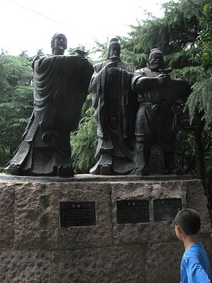 Zhang Fei - Statues of the three sworn brothers. From left to right: Liu Bei, Guan Yu, Zhang Fei.