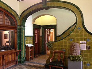 Pontefract Museum - Art Nouveau tiling in the entrance hall