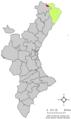 Localització de Castell de Cabres respecte del País Valencià.png