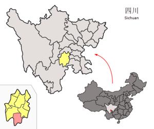 Mabian Yi Autonomous County - Image: Location of Mabian within Sichuan (China)