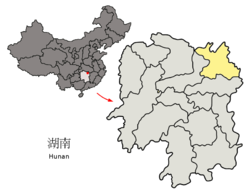 Location o Yueyang Ceety jurisdiction in Hunan