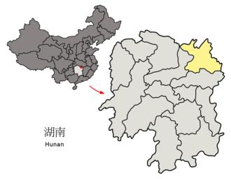 Yueyang - Image: Location of Yueyang Prefecture within Hunan (China)