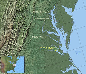 Location of Jamestown, Virginia