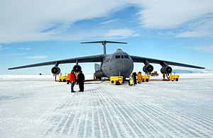445th Airlift Wing - MCMURDO STATION, Antarctica -- A C-141 Starlifter sits here with engine heaters to keep mechanical parts from freezing up under the frigid condition. Starlifters from the 445th Airlift Wing at Wright Patterson Air Force Base, Ohio, and the 452d Air Mobility Wing at March Air Reserve Base, Calif., were here supporting Operation Deep Freeze.