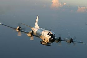 A WP-3D Orion weather reconnaissance aircraft in flight.