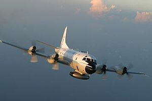 NOAA ships and aircraft - A NOAA Lockheed WP-3D Orion used for hurricane reconnaissance missions.