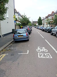 Road marking to indicate street is part of a London Cycle Network route.