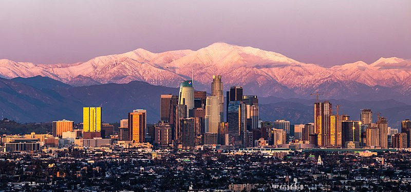 File:Los Angeles with Mount Baldy.jpg