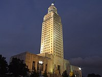 Louisiana State Capitol at night