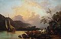Loutherbourg-Vue du lac de Windermere du côté du ferry, soleil couchant.jpg