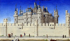Louvre castle - Le Louvre in the 15th century in the miniatures of the Très Riches Heures du Duc de Berry