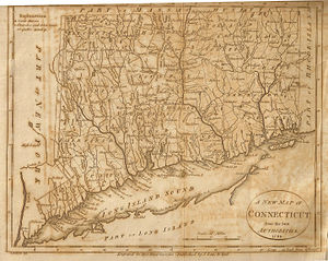 Putnam County, New York - A 1799 map of Connecticut which shows The Oblong. From Low's Encyclopaedia.